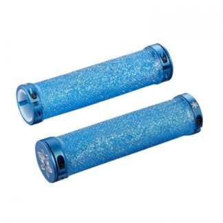 Supacaz Diamond Kush Bar Grips Neon Blue w/ Blue DH Star Ringz