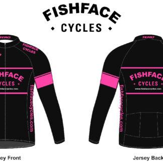 Fishface Cycles Women's Roubaix Long Sleeve Jersey Nero/Fuchsia