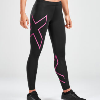 2XU Womens Core Compression Tights Black/Pink