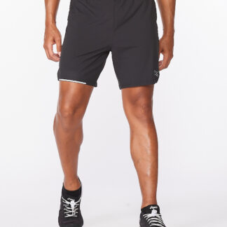 2XU Mens Aero 7 Inch Shorts Black/Silver