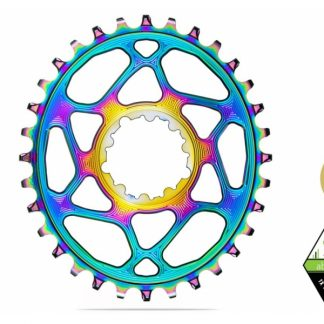 Absolute Black MTB Oval SRAM BOOST 148 Direct Mount (3mm offset) Chainring PVD Rainbow