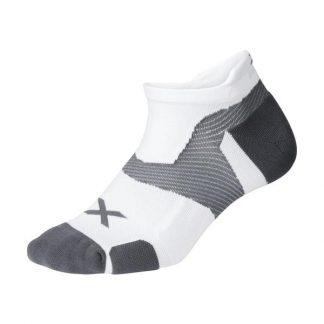 2XU Vectr Cushion No Show Socks White/Grey